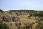 The landscape of limestone cliffs found in the central Dobrogea zone